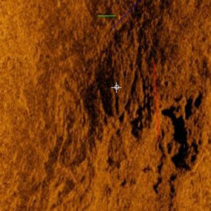 Photo image of side-scan sonar image of the vessel remains.