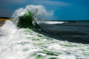 Photo of ocean wave crashing along the Jersey shore