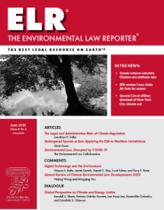 an image of a flyer with the letter ELR in large font followed by the text The Enviromental Law Reporter