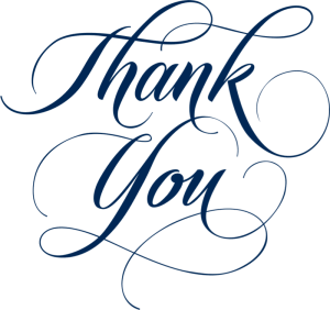 The word Thank You written in a decorative style