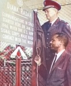 Dr. McAfee and MG Frank W. Moorman unveiling a sign